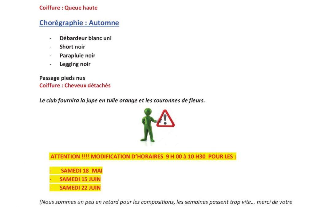 Informations importantes GALA pour les loisirs du samedi matin par TIFFANY