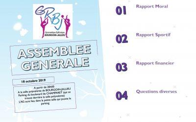 ASSEMBLEE GENERALE LE 18 OCTOBRE à partir de 20h00